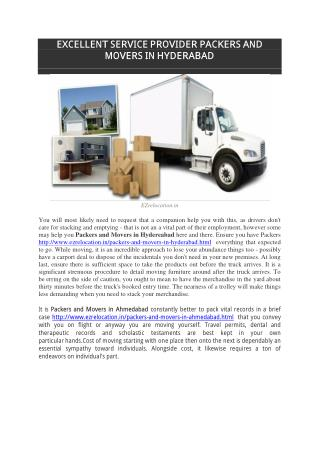 EXCELLENT SERVICE PROVIDER PACKERS AND MOVERS IN HYDERABAD