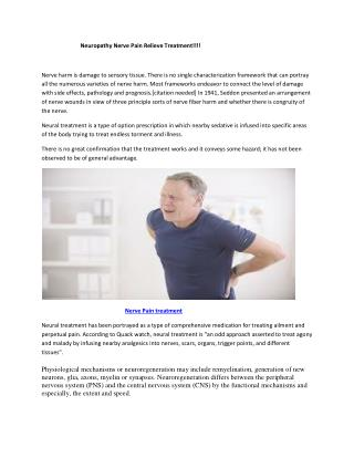 Neuropathy Nerve Pain Relieve Treatment!!!!