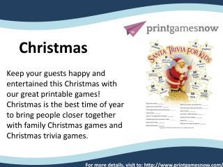 Christmas Free Printable games