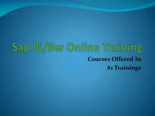 Sap bi&bw online training - course content