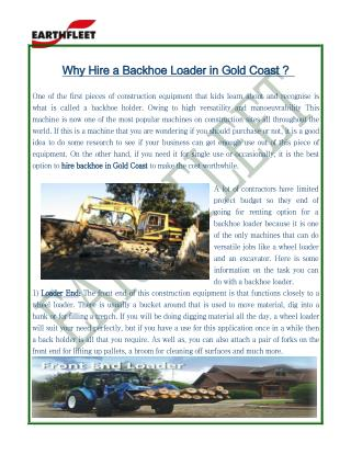 Why hire a backhoe loader in Gold Coast?