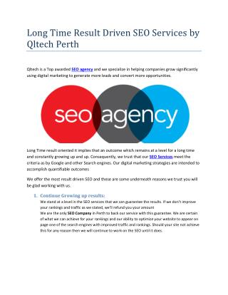 Long term SEO result Driven Company - Qltech