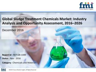 Sludge Treatment Chemicals Market Estimated to Reach US$ 6,865.4 Mn by 2016