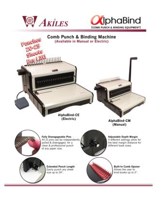 AlphaBind-CM Akiles Manual Comb Binding Machine