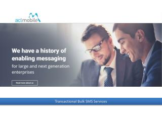 An Overview on Transactional Bulk SMS Service