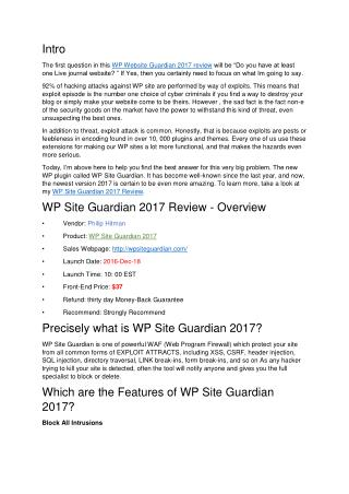 WP Site Guardian 2017 Review – Does This Protect Your Site from Hacker?