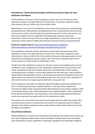 Nanophotonics  Market (Nanotechnology and Photonics) Research Report by Type, Application and Regions.