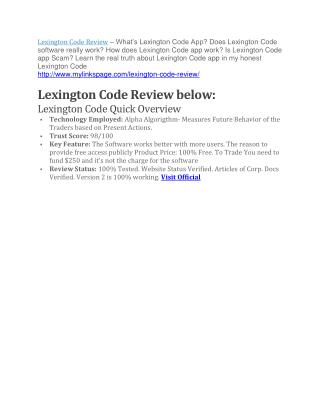 Lexington Code review