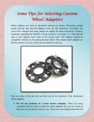 Some Tips for Selecting Custom Wheel Adapters