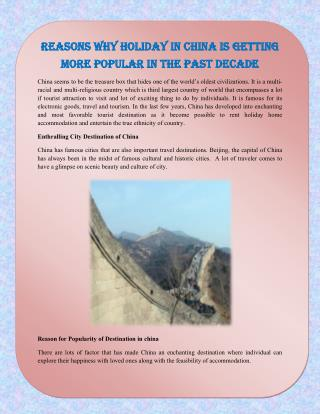 Reasons Why Holiday in China Is Getting More Popular In the Past Decade
