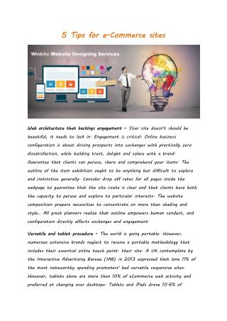5 Tips for e-Commerce sites