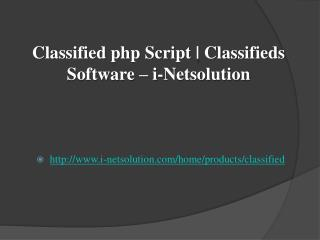 Classified php Script | Classifieds Software – i-Netsolution
