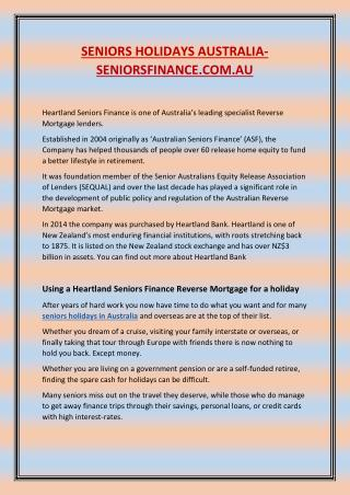 Heartland Seniors Finance –  seniors holidays Australia