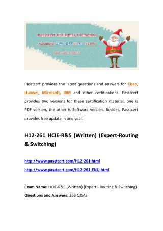 Passtcert H12-261 real questions, H12-261-ENU actual guides