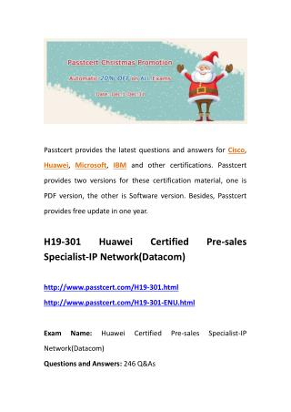 Passtcert H19-301 real questions, H19-301-ENU actual guides
