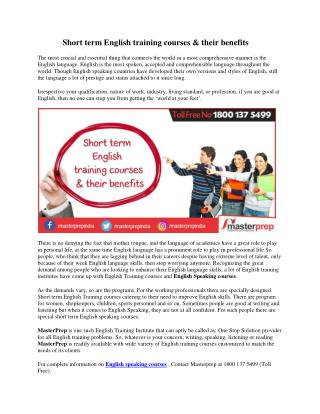 Short Term English Training Courses