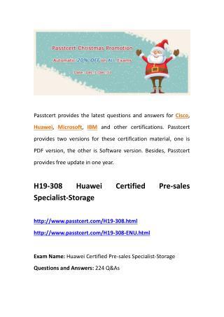 Passtcert H19-308 real test, H19-308-ENU exam dumps