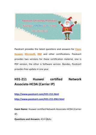 Passtcert H31-211 real dumps, H31-211-ENU practice questions