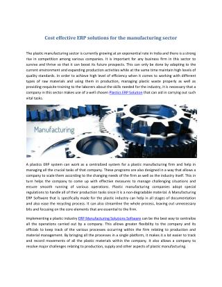 Cost effective ERP solutions for the manufacturing sector