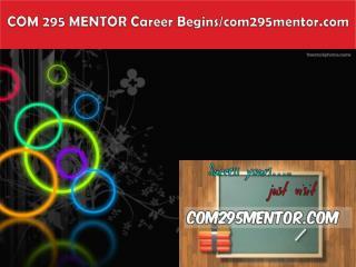 COM 295 MENTOR Career Begins/com295mentor.com