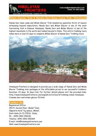 Milam Glacier Trek & Nanda Devi Base Camp Trek- Himalayas