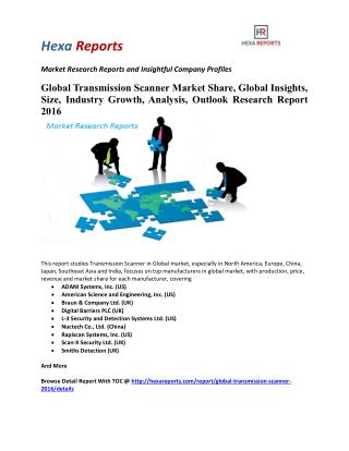 Global Transmission Scanner Market Share, Global Insights, Size, Industry Growth, Analysis, Outlook and Research Report
