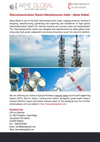 Akme Global - Telecommunication Towers Manufacturers India