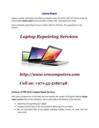 Laptop Repair Services in Dubai