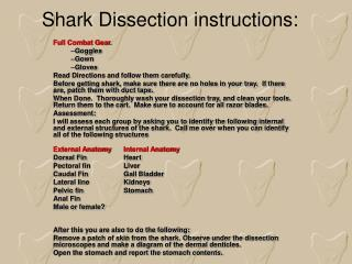 Shark Dissection instructions: