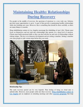 Maintaining Healthy Relationships During Recovery