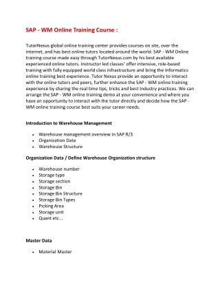 Sap wm online training - course content