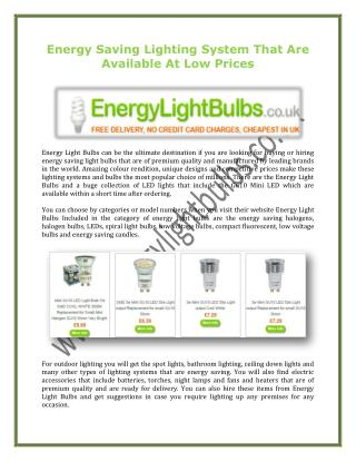 Energy Saving Lighting System That Are Available At Low Prices