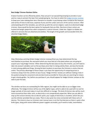 Best Hedge Trimmer Reviews Online