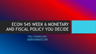 ECON 545 WEEK 6 MONETARY AND FISCAL POLICY YOU DECIDE