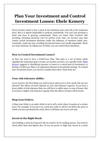 Plan Your Investment and Control Investment Losses: Ebele Kemery