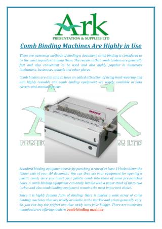 Comb Binding Machines Are Highly in Use