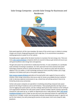 Solar Energy Companies - provide Solar Energy for Businesses and Residences