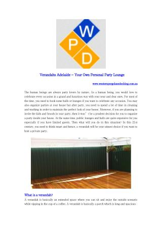 Verandahs Adelaide - Your Own Personal Party Lounge