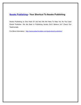 Ibooks Publishing– Your Shortcut To Ibooks Publishing