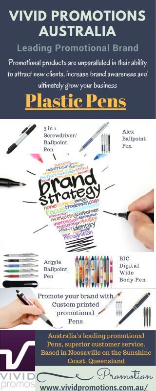 Printed Plastic Pens at Vivid Promotions Australia