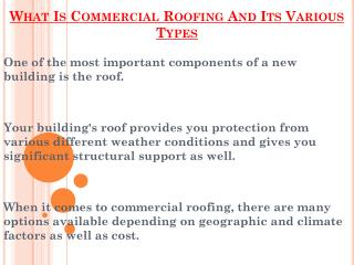 Various Types Of Commercial Roofing