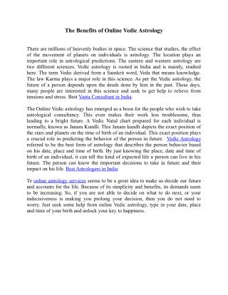 Online Vedic Astrology