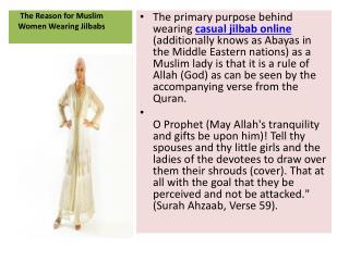 The Reason for Muslim Women Wearing Jilbabs