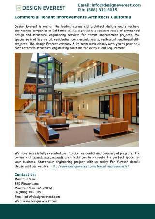 Commercial Tenant Improvements Architects California