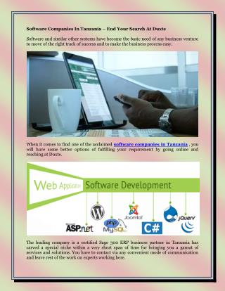 Software Companies In Tanzania – End Your Search At Duxte