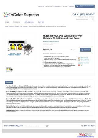 Mutoh RJ-900X Dye Sub Bundle | With Metalnox EL 900 Manual Heat Press