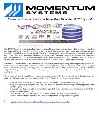 Momentum Systems: Lets Get to Know More About the HACCP System!