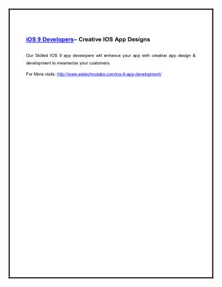 iOS 9 Developers– Creative IOS App Designs