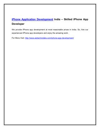 iPhone Application Development India – Skilled iPhone App Developer
