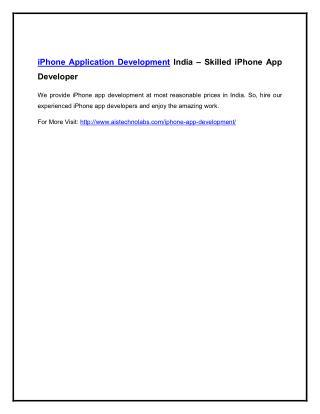 iPhone Application Development India – Skilled iPhone App Developer